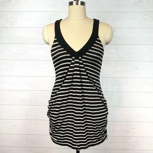 INC Tan & Black Stripe Tank Side Ruching / Pockets